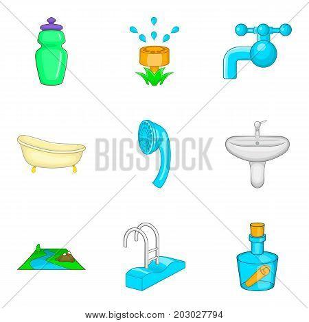 Backwash icons set. Cartoon set of 9 backwash vector icons for web isolated on white background