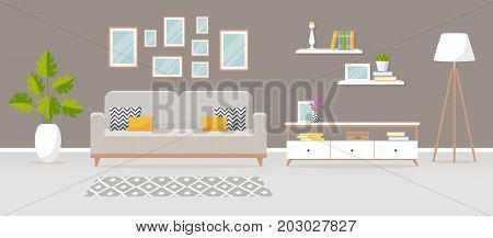 Modern interior of the living room. Vector banner. Design of a cozy room with sofa carpet TV stand and decor accessories.