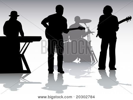 drawing musical group on stage. Silhouettes on white background