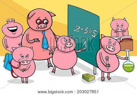 Piglet Cartoon Characters At School