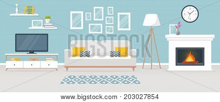 Modern interior of the living room. Vector banner. Design of a cozy room with sofa TV stand fireplace and decor accessories.