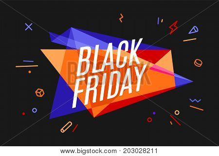 Banner with text Black Friday. Design element for sale theme, shop, market. Poster for sale and discount in memphis style on color and black background. Geometric graphic design. Vector Illustration