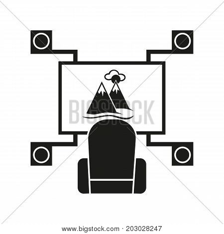Simple icon of chair at D home theater. Television, video, leisure. Smart technology concept. Can be used for topics like technology, entertainment, hobby