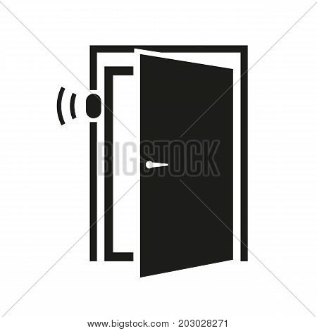 Simple icon of door sensor. Automatic door, alarm, digital lock. Smart technology concept. Can be used for topics like technology, security system, business