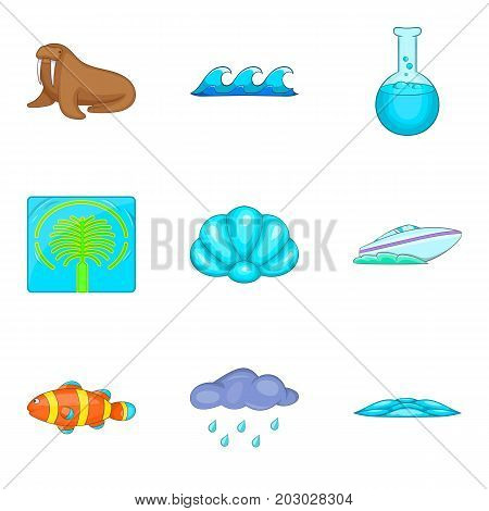 Aqua icons set. Cartoon set of 9 aqua vector icons for web isolated on white background