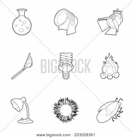 Light source icons set. Outline set of 9 light source vector icons for web isolated on white background