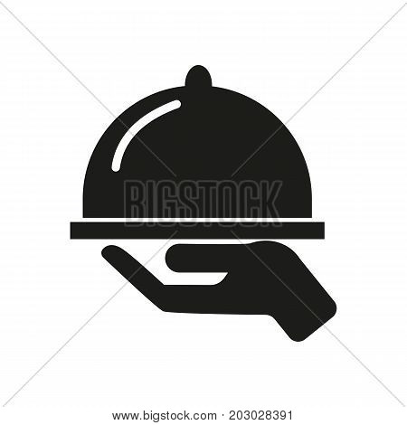 Simple icon of hand holding dish. Cafe, menu, waiter. Hotel concept. Can be used for topics like food service, catering, meal