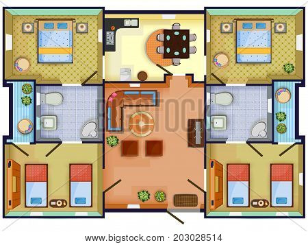 Top view of Floor plan interior design layout for house with furniture and fixture. Vector illustration