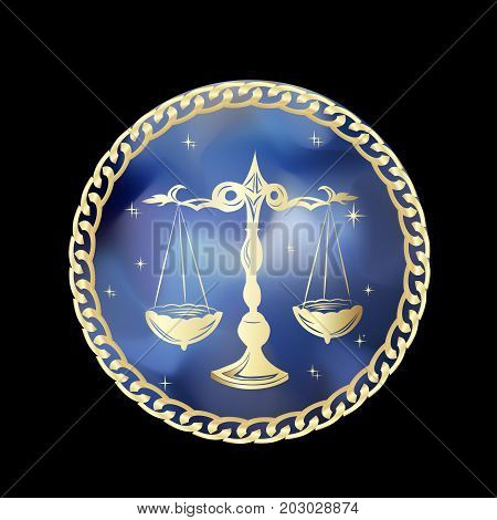 Libra zodiac sign in circle frame vector Illustration. Contour icon.