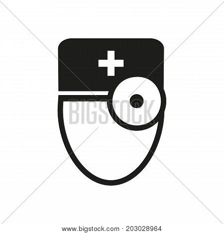 Simple icon of doctor with frontal reflector. Orl, doctor, general practitioner. Medical professions concept. Can be used for topics like medicine, healthcare, clinic