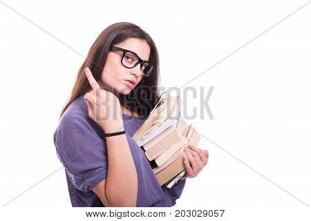 Arrogant Girl Student Carrying Books