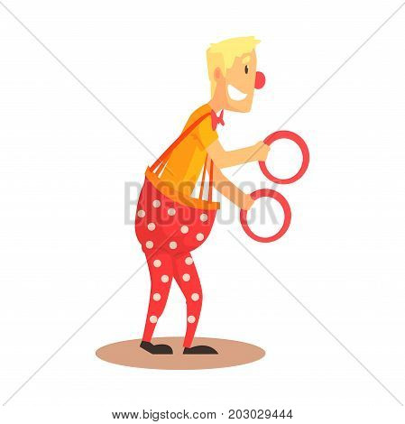 Funny friendly clown juggling with rings, circus or street actor colorful cartoon detailed vector Illustration on a white background