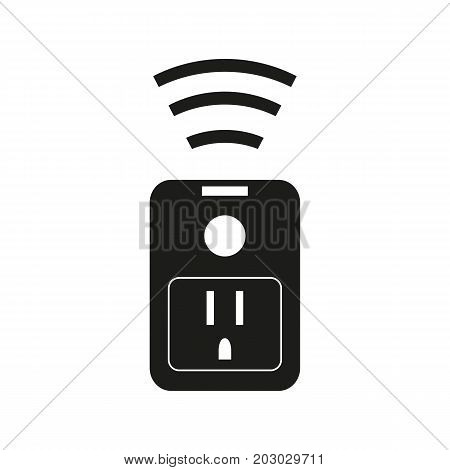 Simple icon of wi-fi smart plug. Socket, charge, electricity. Smart technology concept. Can be used for topics like technology, modern device, smart home