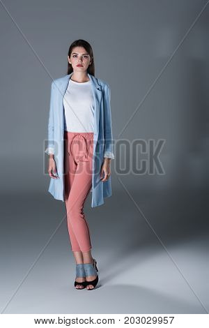 Charming Girl In Blue Trench