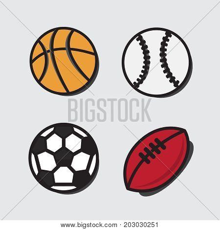 Sports Balls. Vector Cartoon Ball Set For Soccer, Rugby. Basketb