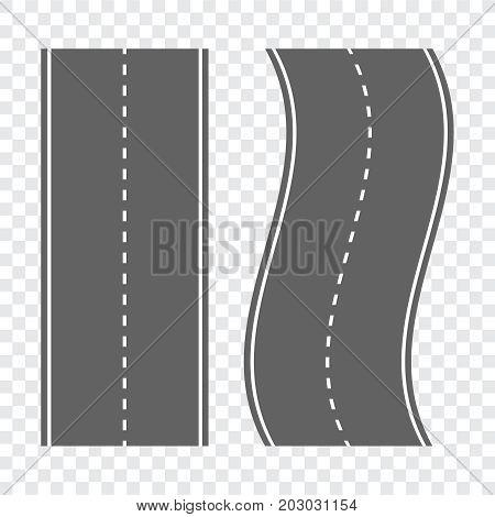 Winding Curved Road Or Highway. Direction, Transportation Set Ve