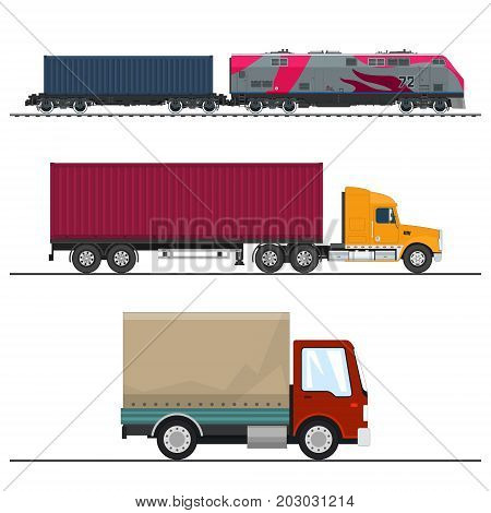 Set of Overland Freight Transport Delivery Trucks Locomotive with Cargo Container Shipping and Freight of Goods Transportation and Cargo Services Vector Illustration