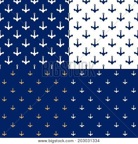 Set of Maritime Backgrounds with Anchor Seamless Marine Pattern Travel and Tourism Concept Vector Illustration