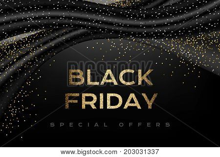 Black friday luxury poster. Promotion banner with silk textile waves golden confetti on the dark horizontal background.