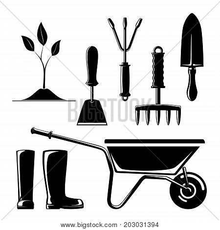 Set of Agricultural Tools Silhouette of Garden and Landscaping Tools Hand Rake and Hoe with Sprout and Working Rubber Boots Rip Saw with Trowel and Wheelbarrow Vector