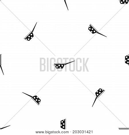 Pot with white dots and handle pattern repeat seamless in black color for any design. Vector geometric illustration