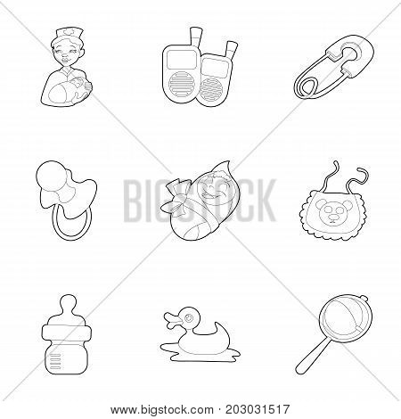 Baby born icons set. Outline set of 9 baby born vector icons for web isolated on white background