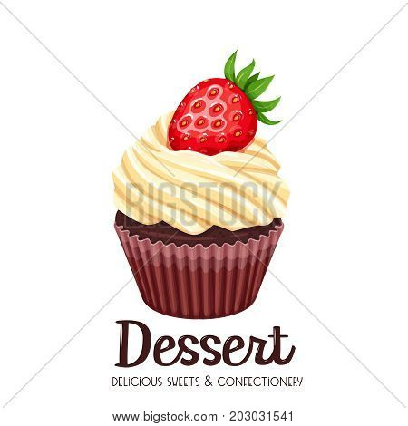 Vector cupcake icon. Illustration dessert confectionery with strawberry.