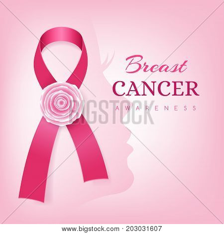Breast cancer awareness card. Pink ribbon with rose flower decoration and women face silhouette