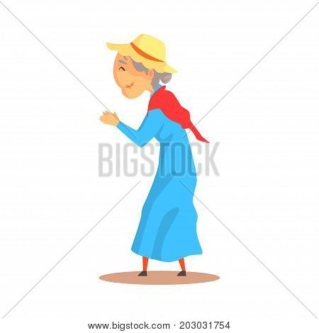 Old woman watching something and applauding colorful cartoon detailed vector Illustration on a white background