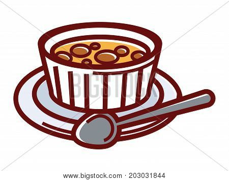 Sweet creme brulee in small container on plate with spoon isolated cartoon flat vector illustration on white background. Tender French dessert made of delicious custard with thin caramel crust.