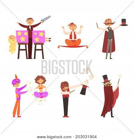 Magician in the circus show magic tricks magic tricks vector illustration