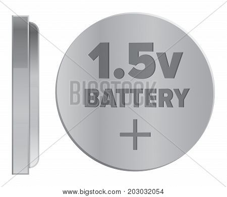 Compact round silver 1.5v battery isolated on white background. Qualitative energy container for small electronic devices. Mini galvanic appliance to support power content vector illustration.