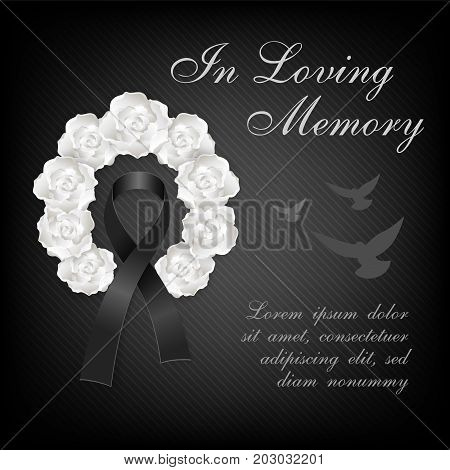 Funeral card. White roses wreath and black awareness ribbon with flying dove on the dark background
