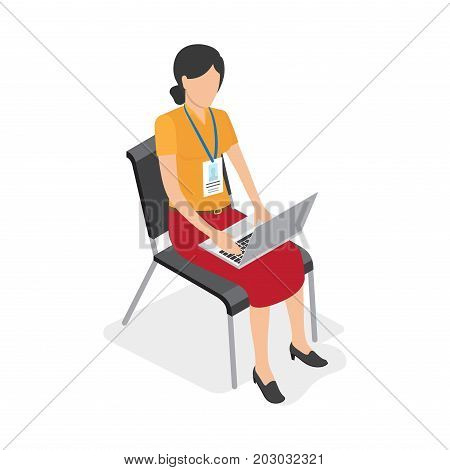 Woman with badge sits on chair and works at laptop isolated on white background. Vector illustration of work process. Business woman use modern technologies to do her job more comfortable and faster.