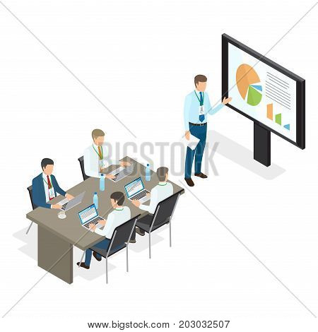 Assembly and speech of top managers on white background. Vector illustration of man appearing and pointing at monitor with charts, remaining members of business coaching sitting at table with laptops.