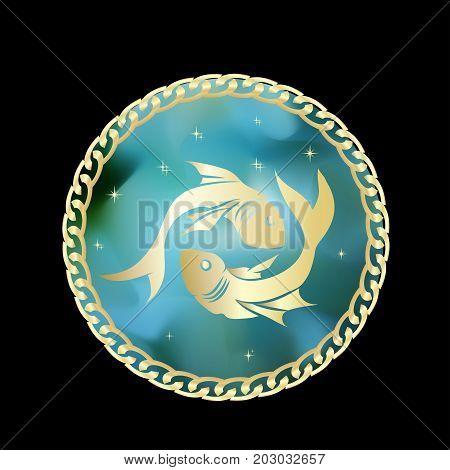 Pisces zodiac sign in circle frame vector Illustration. Contour icon.