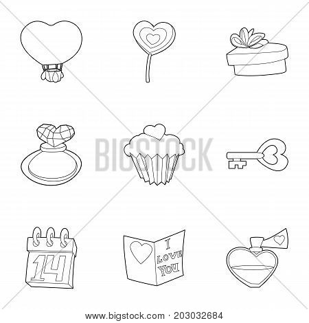 Saint valentine day icons set. Outline set of 9 saint valentine day vector icons for web isolated on white background