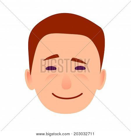 Young man smiling face icon. Brown-haired, blushed boy with joyed facial expression flat vector isolated on white background. Joyful male cartoon emotive portrait for user avatar illustration