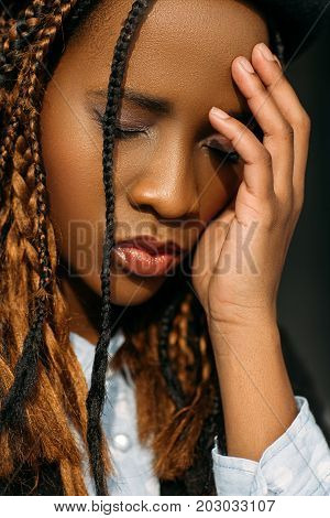 Tired African American female. Life problems. Strong headache, sad pretty black woman, trouble concept