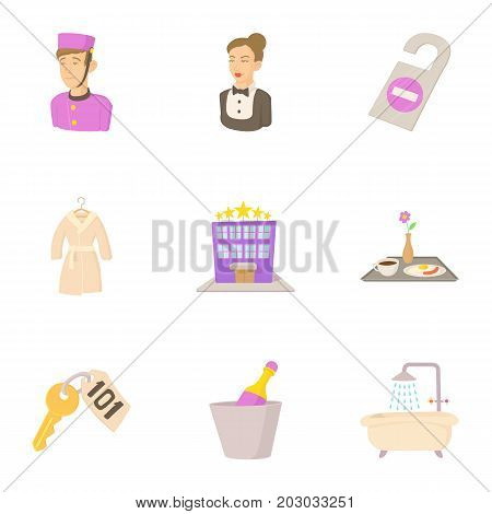 Hotel icons set. Cartoon set of 9 hotel vector icons for web isolated on white background