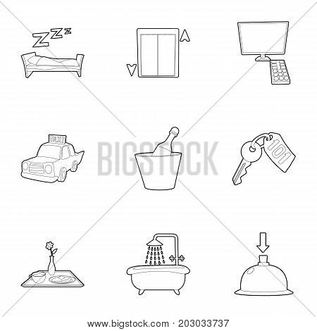 Hotel icons set. Outline set of 9 hotel vector icons for web isolated on white background