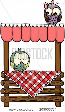 Scalable vectorial image representing a couple owls on wooden stand for sale, isolated on white.