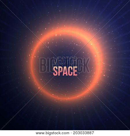 Explosion with a space flare on dark background. Glowing effect with stars and particles on blue background.