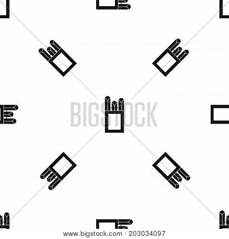 Chalks in carton box pattern repeat seamless in black color for any design. Vector geometric illustration