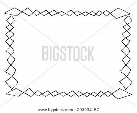 Simple frame with abstract square doodles rectangular shape isolated on white background. Empty photo framework vector illustration. Framing for photos, interior decoration, documents and certificates
