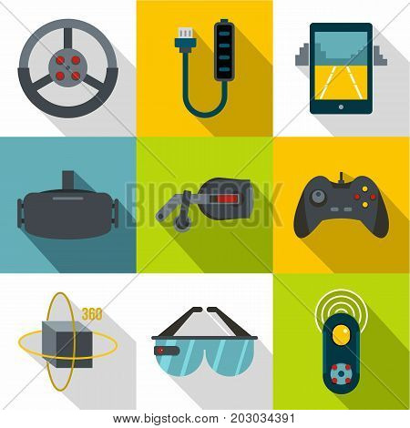 VR entertainment icon set. Flat style set of 9 vr entertainment vector icons for web design
