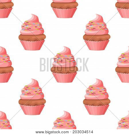 Cupcake with chocolate biscuit and swirl topping cream with caramels isolated on white. Baked cake with filling and pink airy flesh in simple cartoon style. Light baking sweet vector illustration