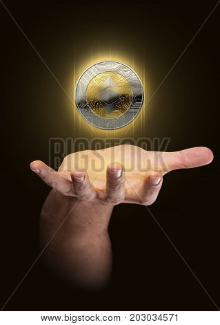 Hand With Cryptocurrency Hologram
