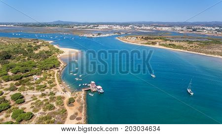 Aerial. Gulf of the river island of Tavira. View from the sky