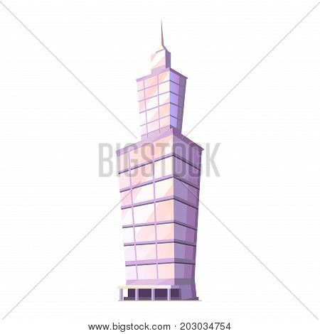 Skyscraper glass building tower with spire isolated on white. Traditional attribute of big cities home in flat style design. Vector illustration of futuristic modern buildings gaming app concept